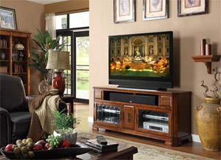 Legends home theater stand available at Mentor Furniture.