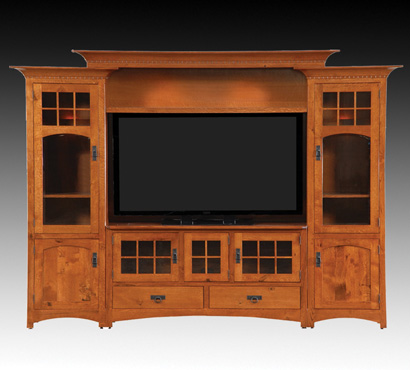 Integ Wood Products Winchester Bridge Amish Entertainment Center